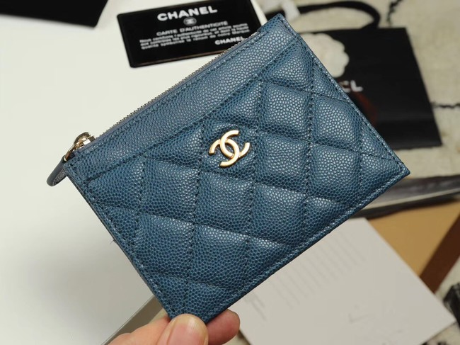 Chanel classic card holder Grained Calfskin & Gold-Tone Metal A84105 blue