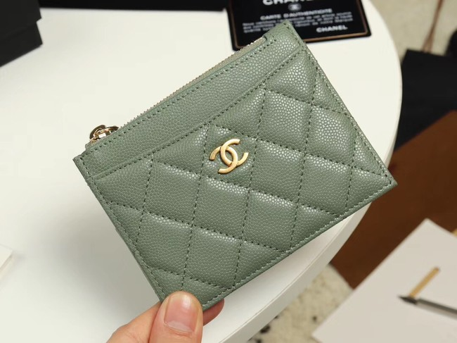 Chanel classic card holder Grained Calfskin & Gold-Tone Metal A84105 green