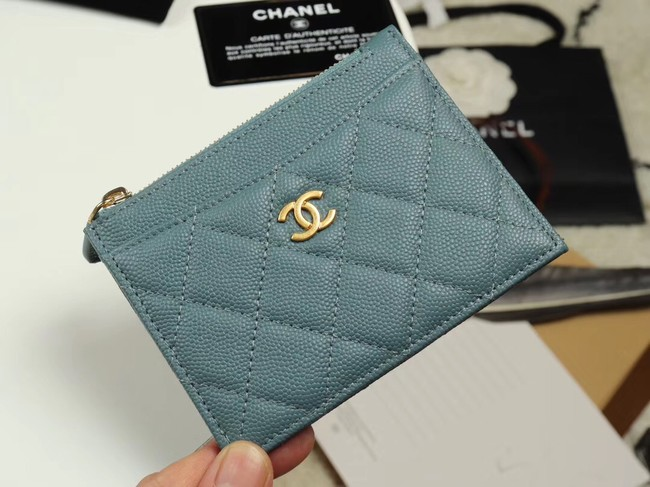 Chanel classic card holder Grained Calfskin & Gold-Tone Metal A84105 sky blue