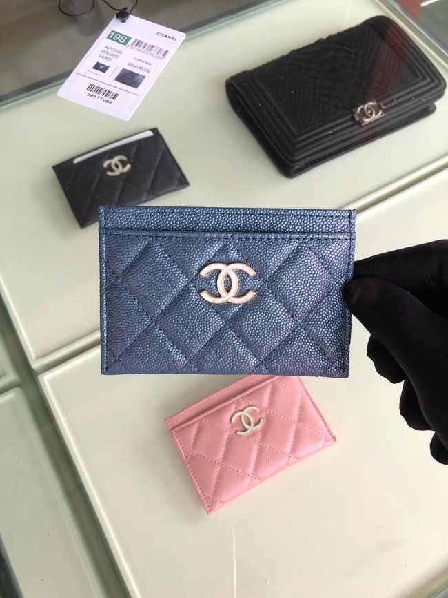 Chanel classic card holder Grained Calfskin & Gold-Tone Metal B31510 blue
