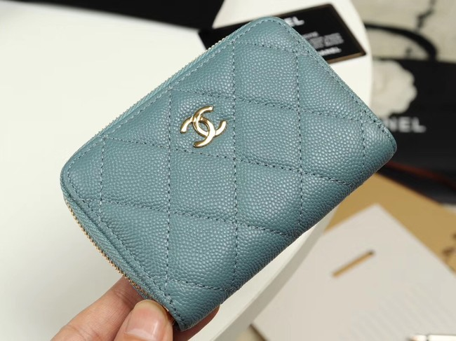 Chanel classic card holder Grained Calfskin & Gold-Tone Metal A69271 light Blue