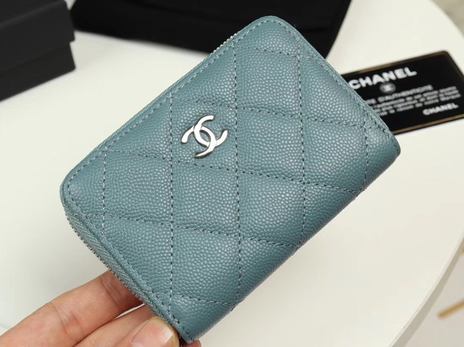 Chanel classic card holder Grained Calfskin & silver-Tone Metal A69271 light Blue