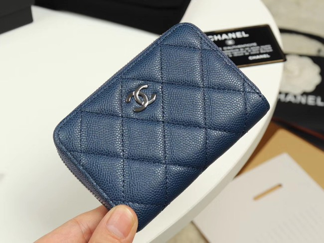 Chanel classic card holder Grained Calfskin & silver-Tone Metal A69271 sky Blue