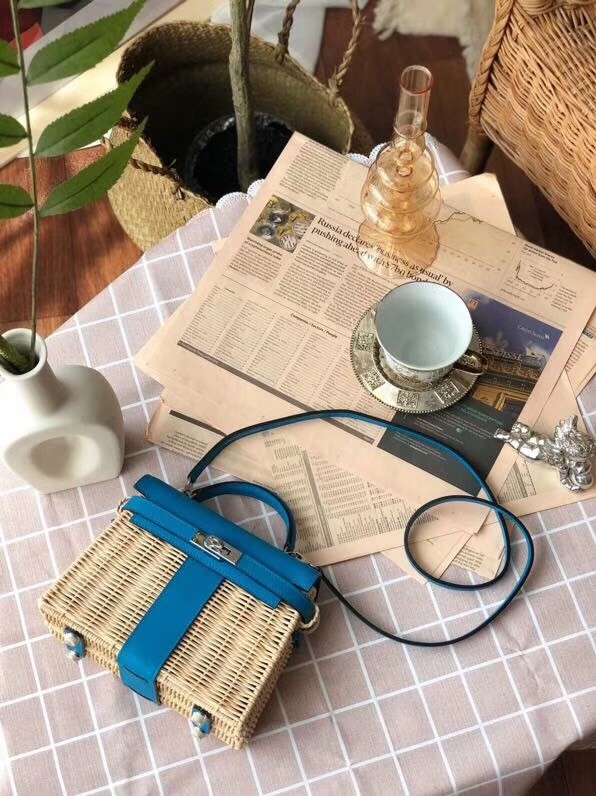 Hermes kelly picnic bag 9810 blue