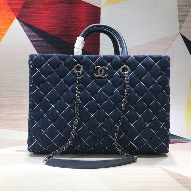 Chanel Original large shopping bag Grained Calfskin A98127 blue