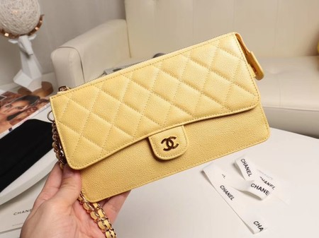 Chanel classic pouch with handle Lambskin & Gold-Tone Metal AP0364 yellow