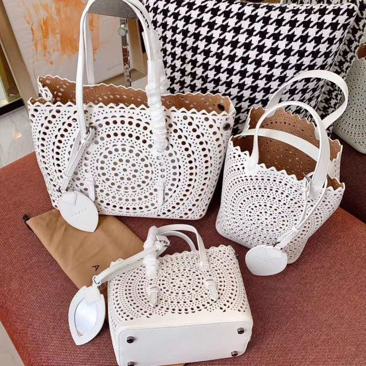 Alaia Openwork Original Leather Tote Bag A3658 White