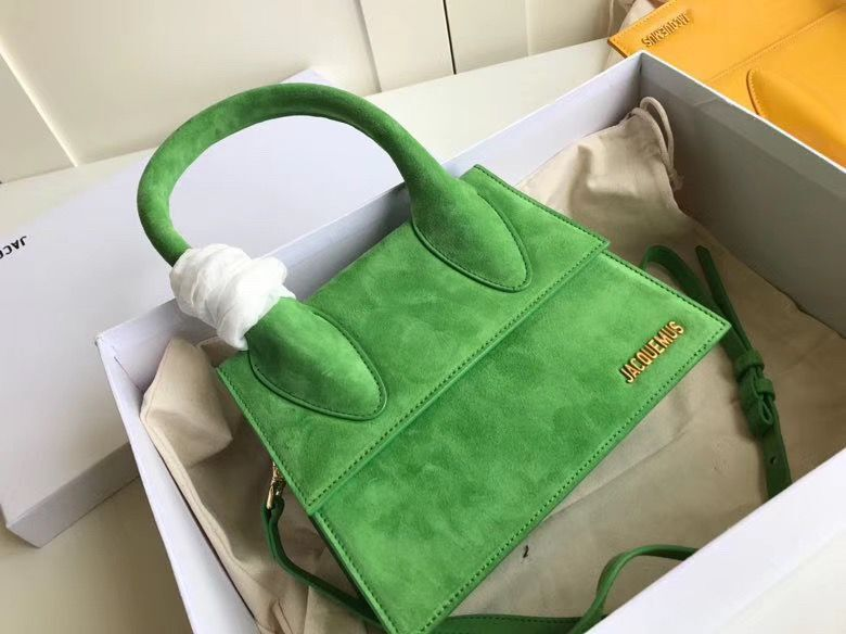 Jacquemus Original Velvet Leather Top Handle Bag J76235 Green