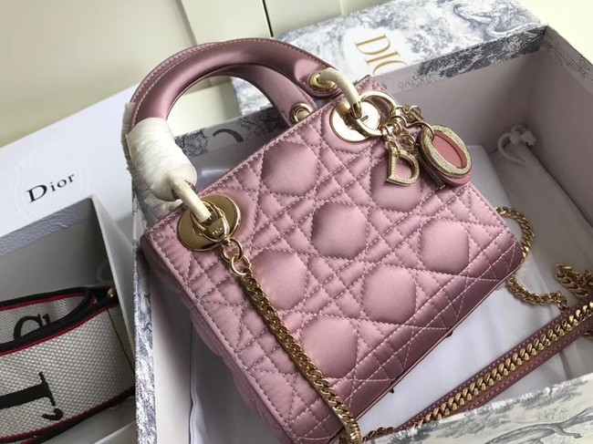 MINI LADY DIOR SATIN BAG M424 Pink Purple