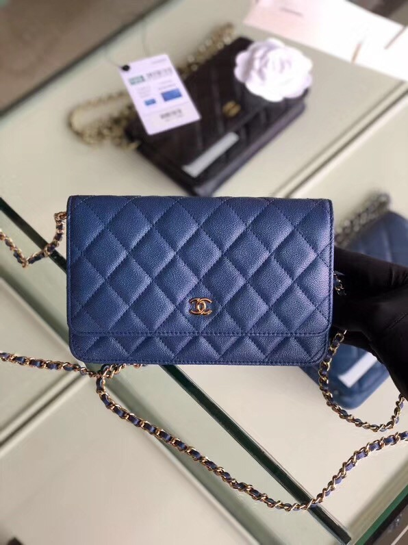 Chanel classic wallet on chain Grained Calfskin & gold-Tone Metal 33814 Pearlescent blue