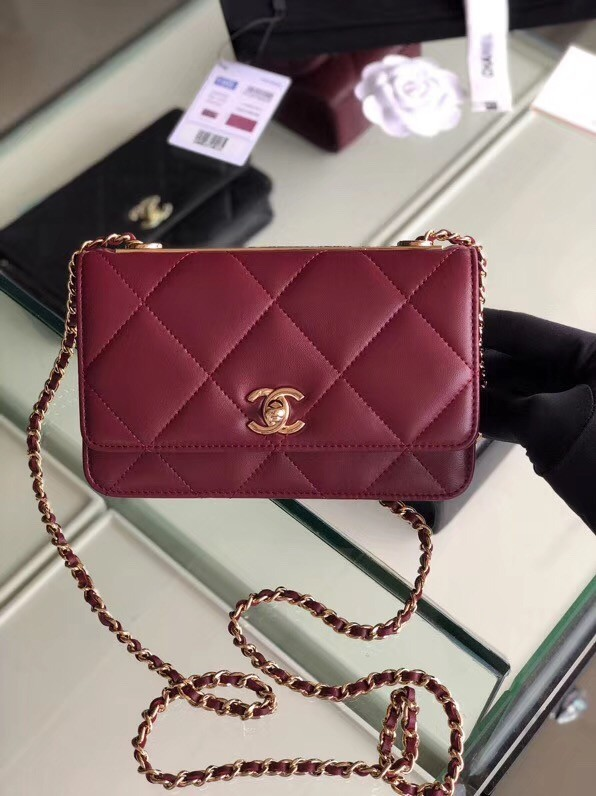 Chanel flap bag Lambskin & Gold-Tone Metal 3798  Purplish