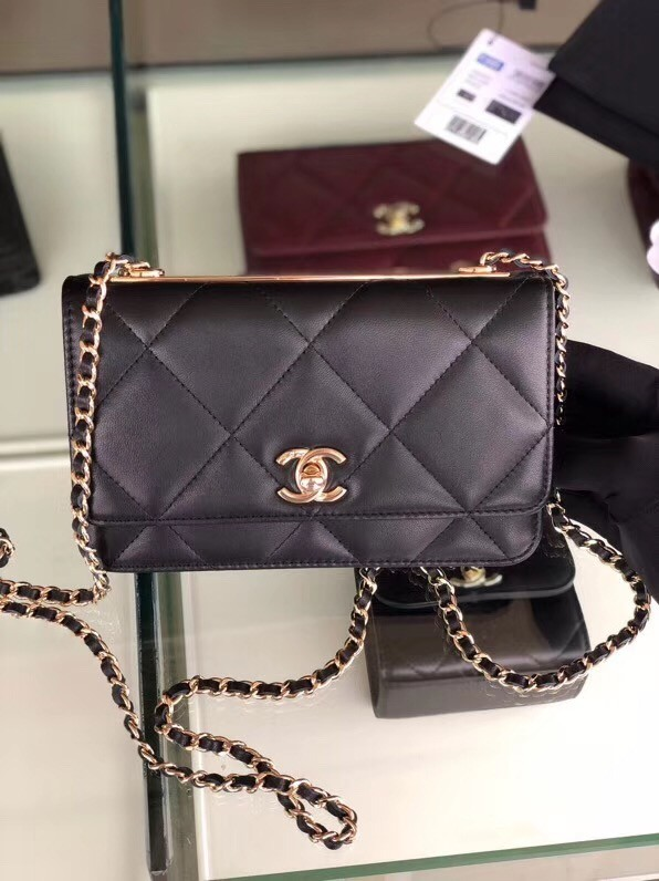Chanel flap bag Lambskin & Gold-Tone Metal 3798 black