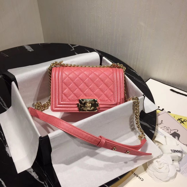 Boy Chanel Flap Shoulder Bag Original Leather Pink A67085 Gold