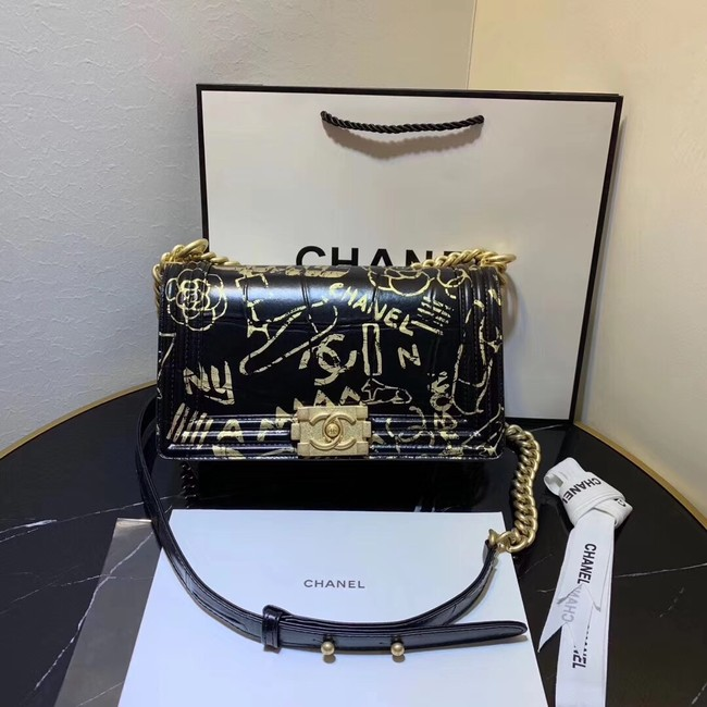 Chanel Le Boy Flap Shoulder Bag Original Leather Black TY67086 Gold