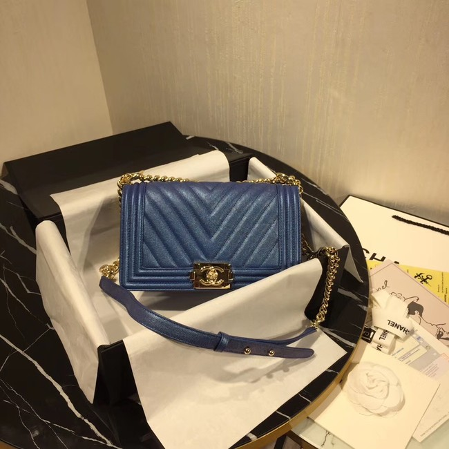 Chanel Le Boy Flap Shoulder Bag Original Leather Blue V67086 Gold