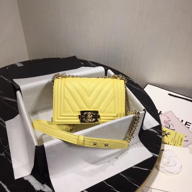 Chanel Le Boy Flap Shoulder Bag Original Leather Yellow V67085 Gold