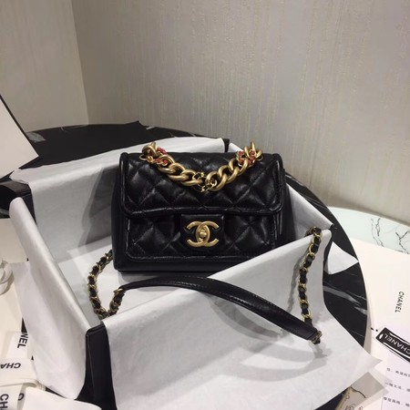 Chanel Shoulder Bag Original Leather Black 50937 Gold