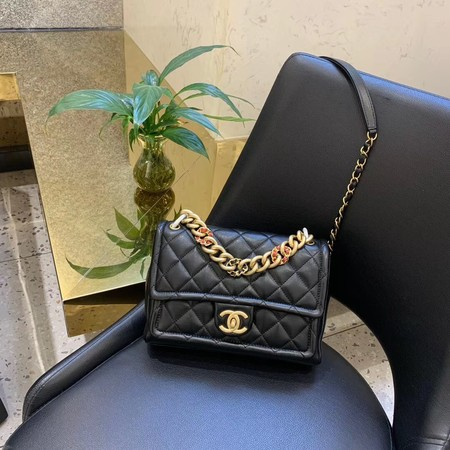 Chanel Shoulder Bag Original Leather Black 50938 Gold