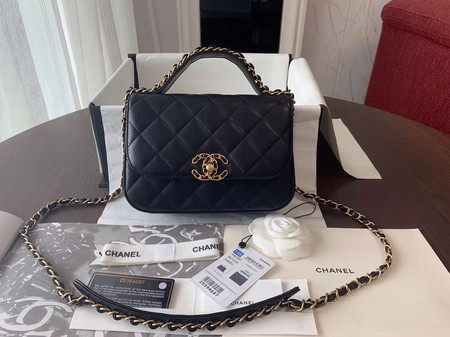 Chanel Shoulder Bag Original Leather Black 63593 Gold