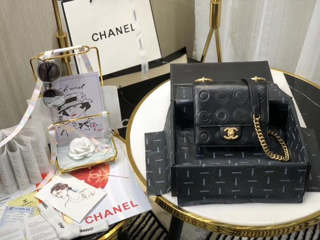 Chanel Shoulder Bag Original Leather Black 63594 Gold