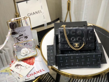 Chanel Shoulder Bag Original Leather Black 63595 Gold