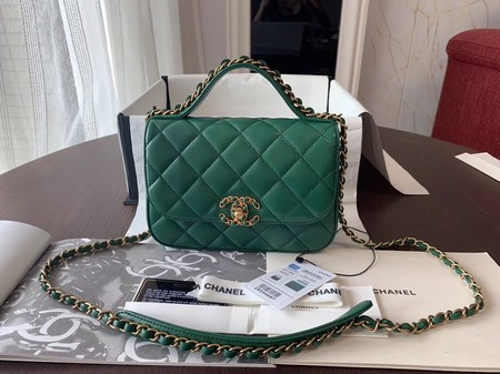 Chanel Shoulder Bag Original Leather Green 63593 Gold