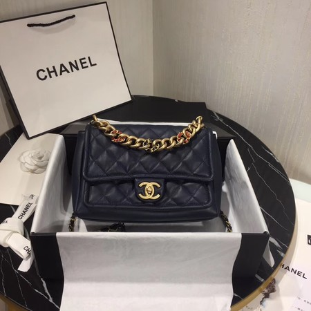 Chanel Shoulder Bag Original Leather Navy 50938 Gold