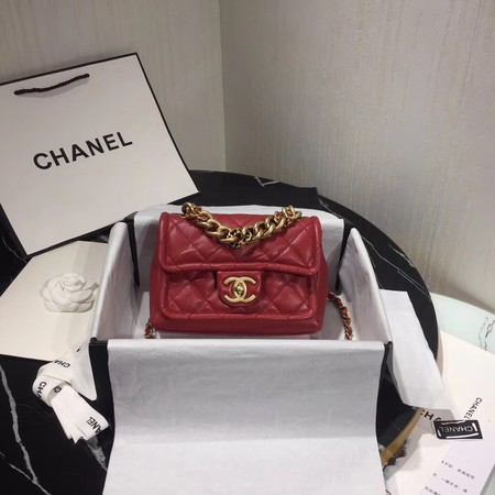 Chanel Shoulder Bag Original Leather Red 50937 Gold