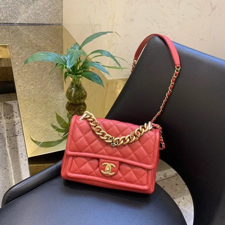 Chanel Shoulder Bag Original Leather Red 50938 Gold