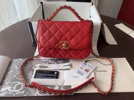 Chanel Shoulder Bag Original Leather Red 63593 Gold