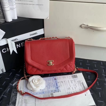 Chanel Shoulder Bag Original Leather Red AS0729 Gold