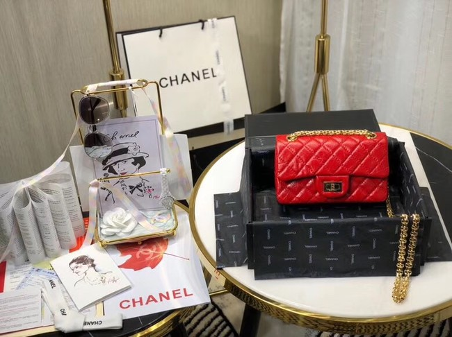 Chanel Shoulder Bag Original Leather Red AS0874 Gold