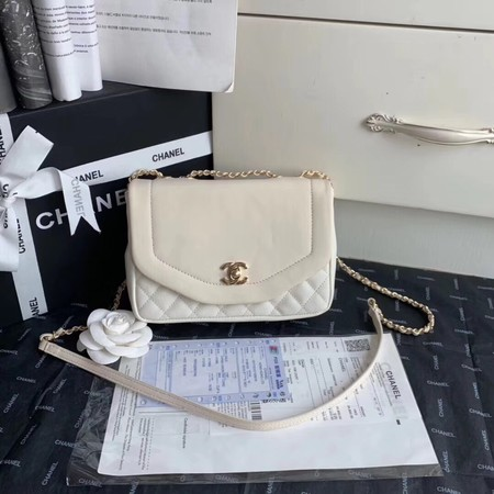 Chanel Shoulder Bag Original Leather White AS0729 Gold