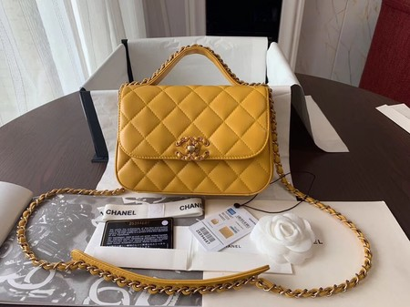 Chanel Shoulder Bag Original Leather Yellow 63593 Gold