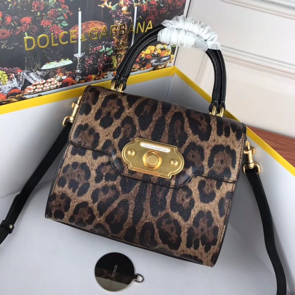 Dolce & Gabbana Leopard Leather Top Handle Bag DG8588 Brown