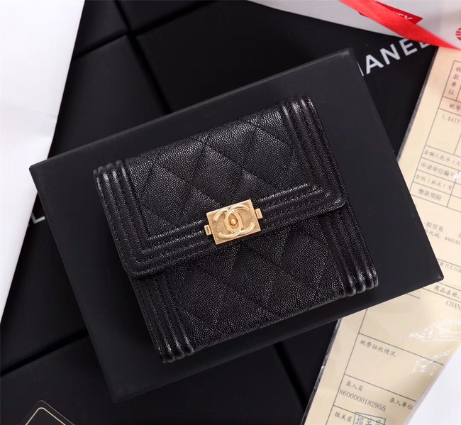 Chanel Calfskin Leather & Gold-Tone Metal A80734 black