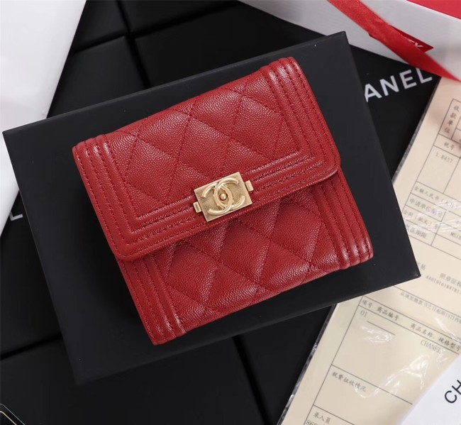 Chanel Calfskin Leather & Gold-Tone Metal A80734 red