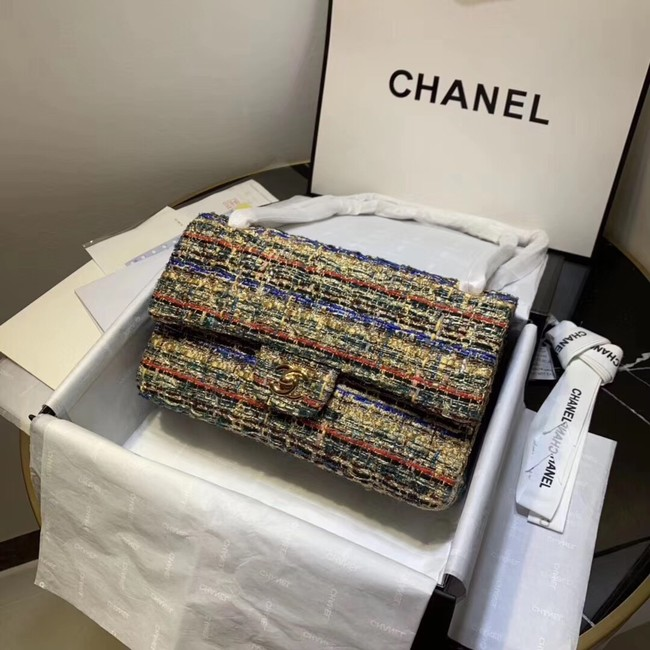 CHANEL Tweed Calfskin -Tone & Gold-Tone Metal 1112 apricot
