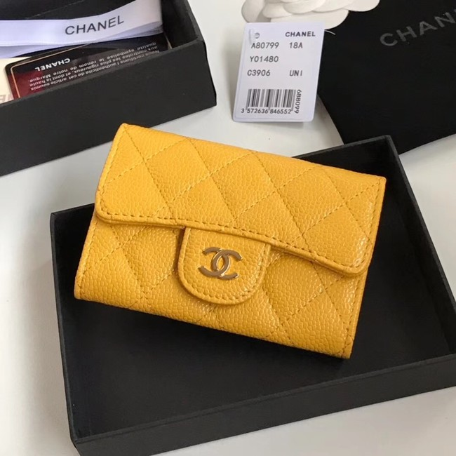 Chanel card holder Calfskin & Gold-Tone Metal A80799 yellow