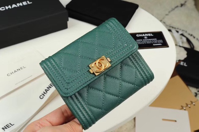 Chanel Calfskin Leather & Gold-Tone Metal A80734 green