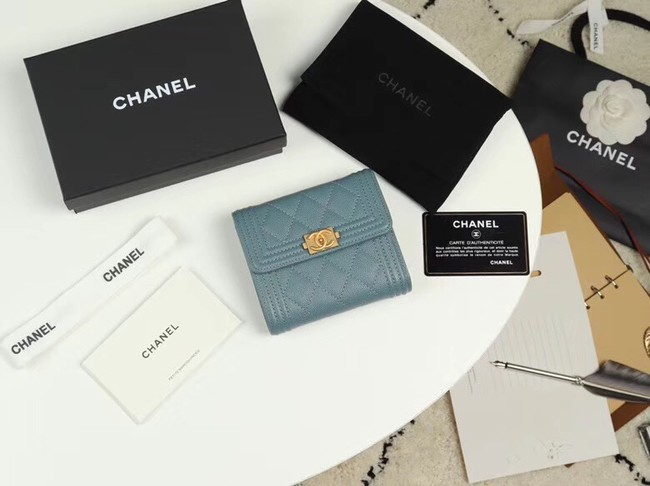 Chanel Calfskin Leather & Gold-Tone Metal A80734 light blue
