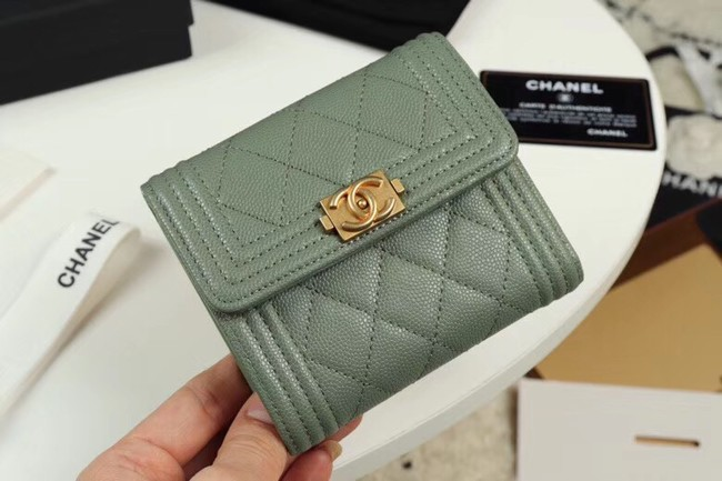 Chanel Calfskin Leather & Gold-Tone Metal A80734 light green