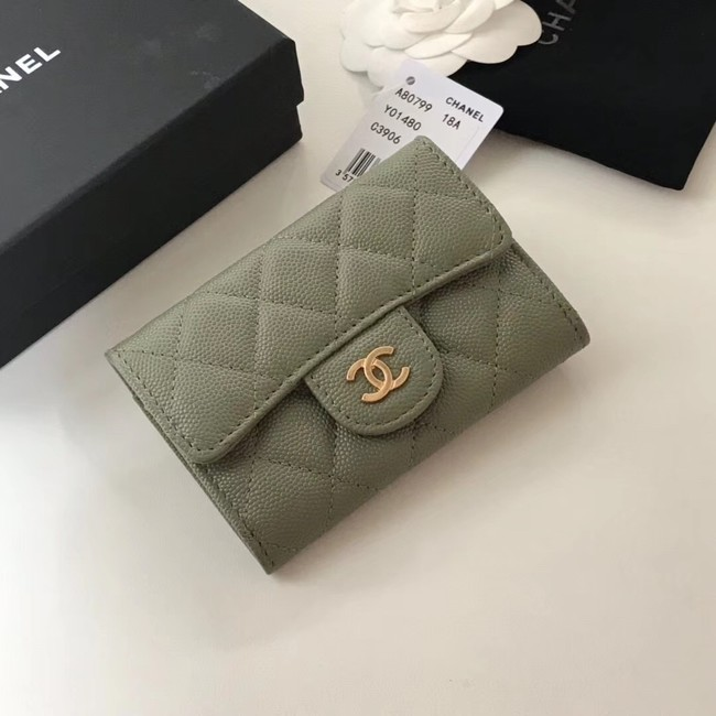 Chanel card holder Calfskin & Gold-Tone Metal A80799 green