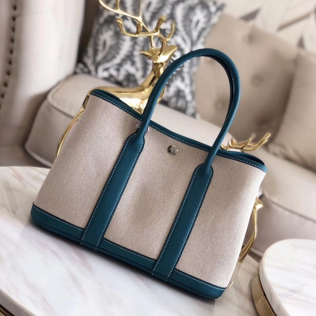 Hermes Garden Party 36cm Tote Bags Original Leather H3698 Blue