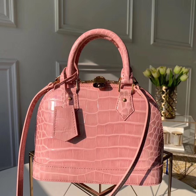 Louis Vuitton Crocodile Pattern Leather Bag N90897 Pink