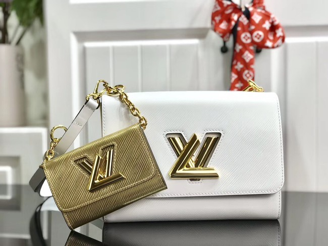 Louis vuitton original epi leather TWIST MM M50280 white&gold
