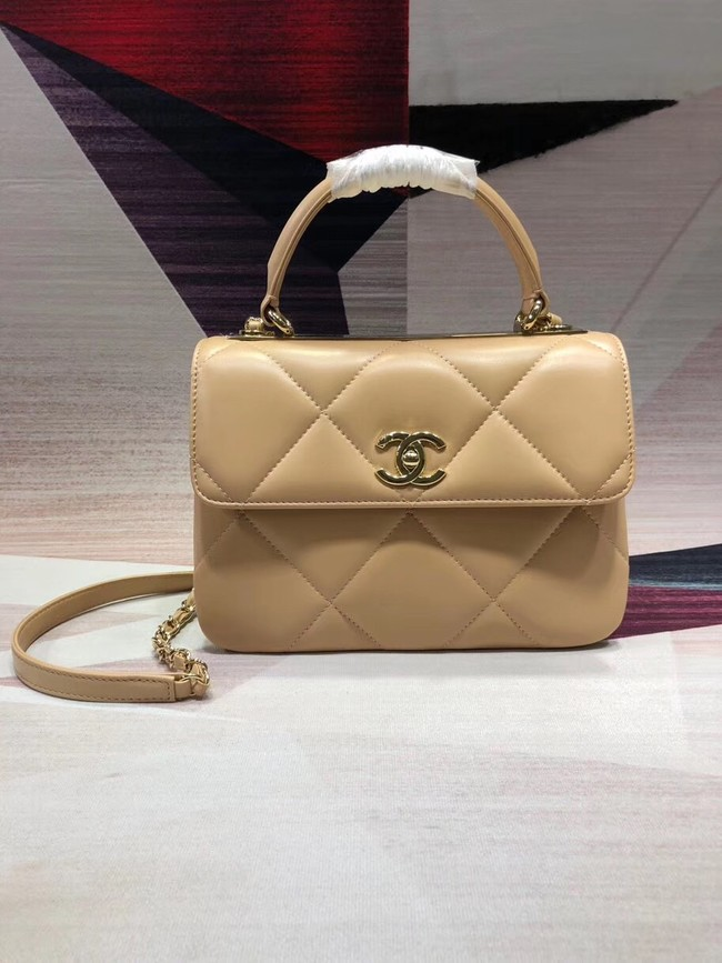Chanel CC original lambskin top handle flap bag A92236 apricot&Gold-Tone Metal