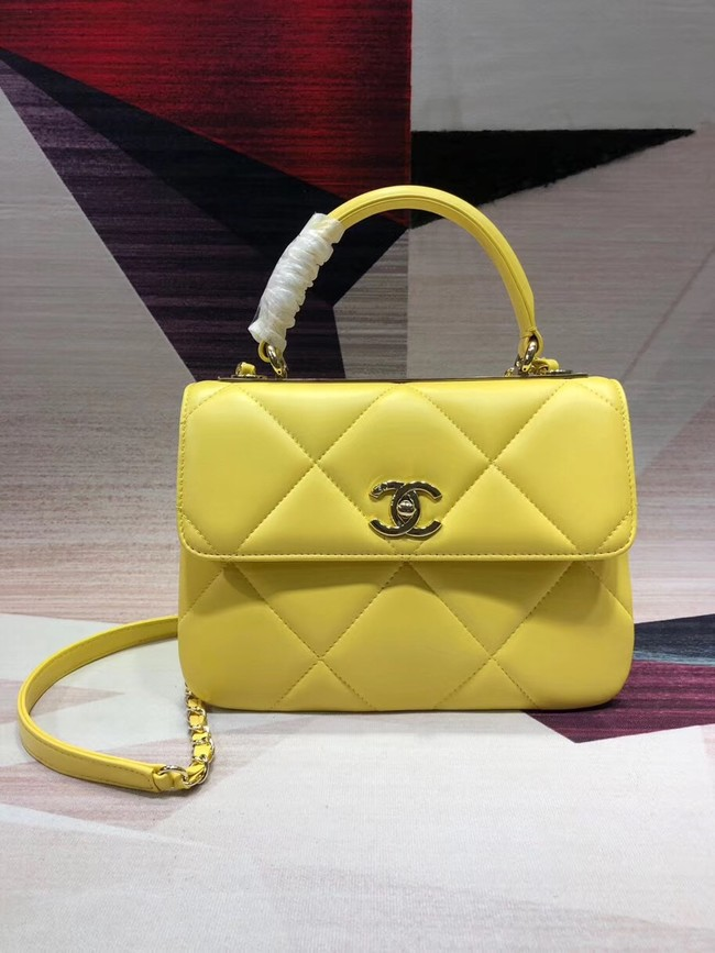 Chanel CC original lambskin top handle flap bag A92236 lemon&Gold-Tone Metal