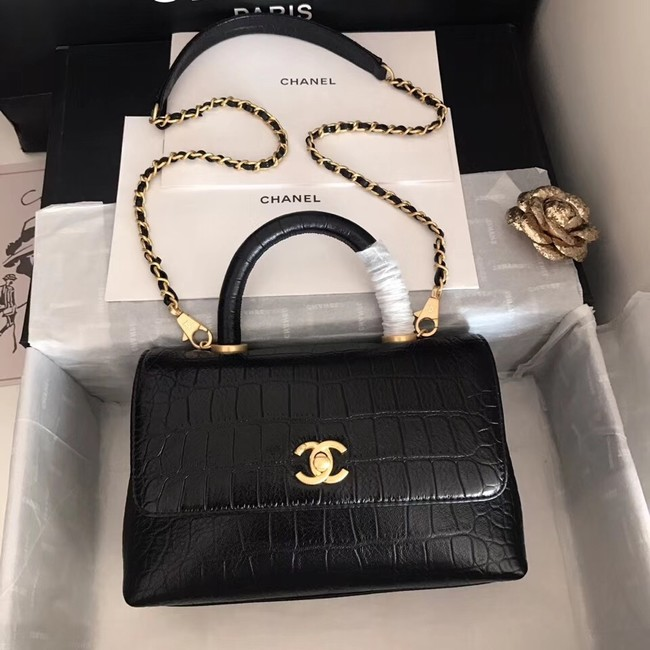 Chanel original Calfskin flap bag top handle A92290 black &gold-Tone Metal