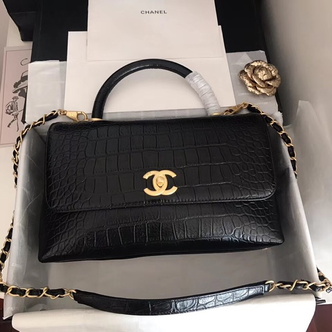 Chanel original Calfskin flap bag top handle A92292 black &gold-Tone Metal